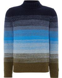Perry Ellis Knitted Crew-neck Wool-blend Jumper - Blue