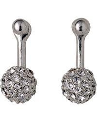 Pilgrim - Silver Plated Crystal 2 In 1 Earrings - Lyst