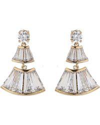 Mikey - Bell Design Cubic Baugette Drop Earring - Lyst