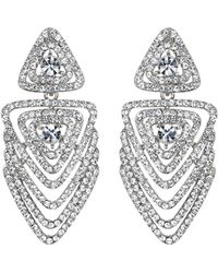 Mikey - Multi Layer Crystal Traingle Earring - Lyst