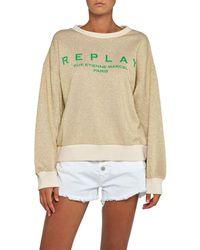 Replay Crewneck Wide Fit Sweatshirt - Metallic