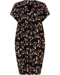 9cedcc194d9 Biba Metallic Fringed Knee Length Jersey Dress in Black - Lyst