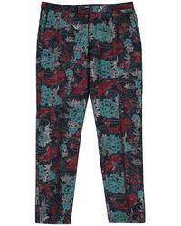 Label Lab Mason Koi Fish Jacquard Suit Trouser - Blue