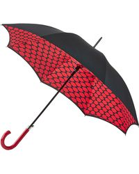 Lulu Guinness Lips Grid Bloomsbury Umbrella - Red