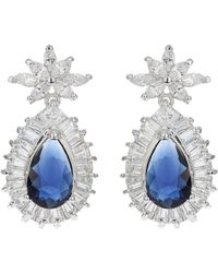 Mikey - Baguette Surround Oval Centre Earring - Lyst