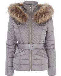 Jane Norman - Mink Faux Fur Trim Padded Coat - Lyst