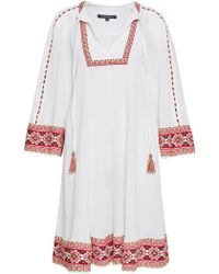 French Connection | Adanna Crinkle Embroidered Smock Dress | Lyst