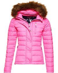 Superdry Fuji Slim Double Zip Hooded Jacket - Pink