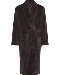 Howick Classic Charcoal Marl Fleece Dressing Gown - Gray