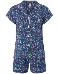Lauren by Ralph Lauren Lauren Flower Print Short Sleeved Pyjama Set - Blue