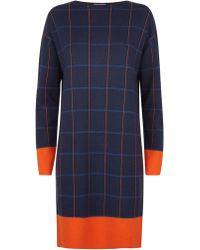 Jaeger - Merino Check Knitted Dress - Lyst