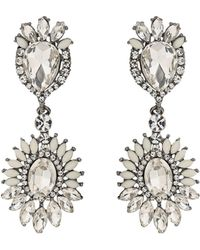 Mikey - Oval Crystals Attach Crystals Earring - Lyst