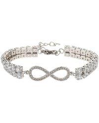 Mikey Bow Twin Line Crystal Tennis Bracelet - White