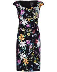 Adrianna Papell Printed Sweetheart Side Drape Dress - Black