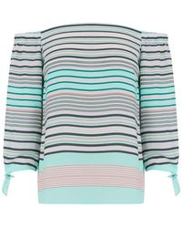 Oasis Tie Sleeve Multi Stripe Bardot Top - Multicolour