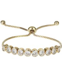 Mikey | Round Cubi Stone Link Self Tie Bracelet | Lyst