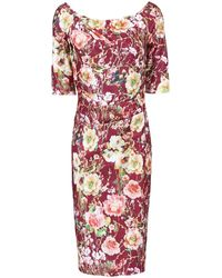 Jolie Moi Floral Half Sleeve Shift - Red
