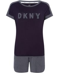 DKNY - Lounge Essentials Logo Tee And Short Set - Lyst