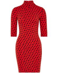 House of Holland - X Woolmark Heart Print High Neck Fitted Merino Wool Dress - Lyst