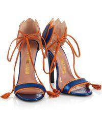 House of Holland - Ss15 'plaster Casters' Blue/ Orange Tassel Heels - Lyst