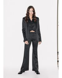 House of Holland Black Satin Tailored Flared Trouser