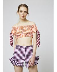 House of Holland Gingham Cotton Frill Shorts - Red