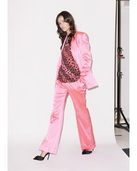 House of Holland Pink Satin Tailored Flared Trouser
