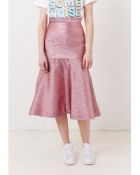 House of Holland - Metallic Pink Flare Midi Skirt - Lyst