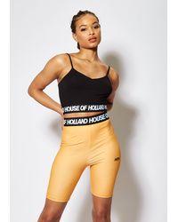 House of Holland Orange And Black Cycle Shorts
