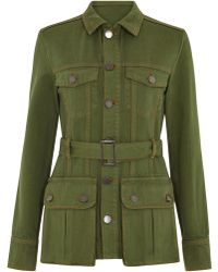 House of Holland Denim Belted Safari Jacket - Green