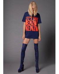 House of Holland 10th Anniversary Kenzo Slogan T-shirt - Blue