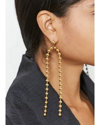 House of Holland - Gold Ball Chain Drop Earrings - Lyst