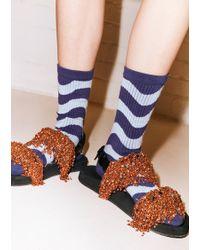 House of Holland - Wavy Dark & Light Blue Socks - Lyst