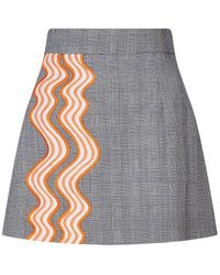 House of Holland - Wavy Trim Prince Of Wales Mini Skirt - Lyst