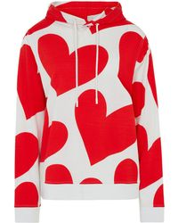 House of Holland Merino Wool Red And White Large Heart Print Hoodie