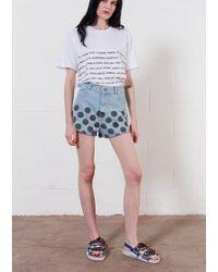 House of Holland Light Blue White Spot Denim Shorts