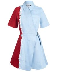House of Holland - Contrast Denim Dress - Lyst