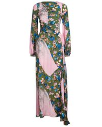 House of Holland - 'calligraffiti' Green Floral Rouched Maxi Dress - Lyst