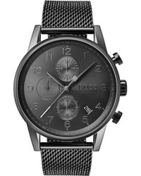 BOSS Mesh-strap Watch In Grey-plated Stainless Steel - Gray