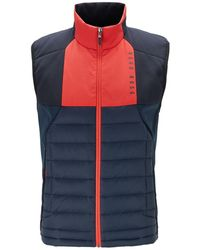 BOSS by Hugo Boss Water-repellent Gilet With Colour-block Paneling - Blue