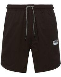HUGO Quick-dry Stretch Swim Shorts With Reflective Details - Black