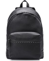 HUGO - Studded Backpack In Grained Leather - Lyst
