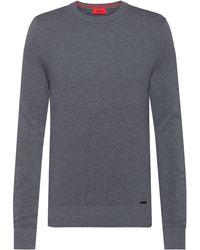 HUGO Jersey de cuello redondo en jacquard de algodón con microestructura - Metálico