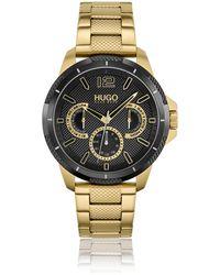 HUGO Horloge Met Geelgoudkleurig Effect En Gestructureerde Zwarte Wijzerplaat - Metallic