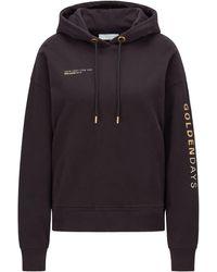 BOSS by HUGO BOSS Sweater Met Capuchon Van Een Biologische Katoenmix Met Gouden Logo - Zwart