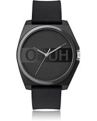 HUGO Unisex Black Watch With Reverse Logo
