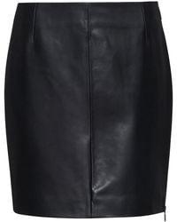 HUGO Slim-fit Leather Mini Skirt With Exposed Side Zip - Black