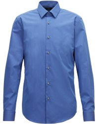 BOSS - Slim-fit Shirt In Fil-à-fil Cotton - Lyst