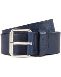 BOSS by Hugo Boss Vegetable-tanned Leather Belt With Chisel Tip - Blue