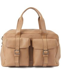 BOSS by Hugo Boss Calf-leather Holdall With Twin Front Pockets - Natural